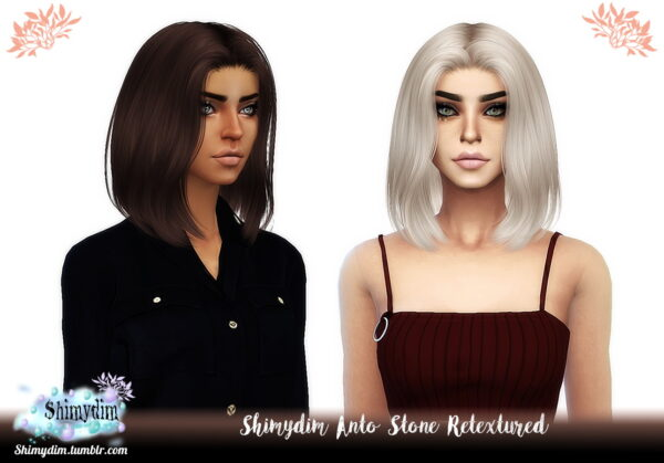 Shimydim: Anto`s Hide, Paris and Stone Hair Retextured for Sims 4