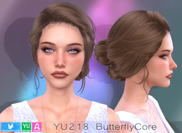 NewSea: YU218 Butterfly Core Hairstyle for Sims 4
