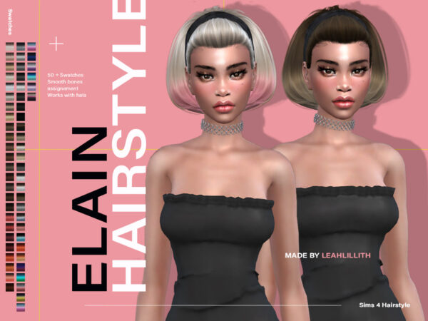 The Sims Resource: Elain Hairstyle by LeahLillith for Sims 4