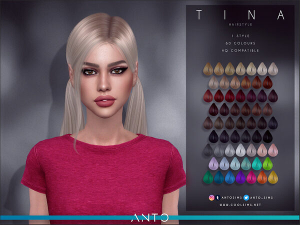 The Sims Resource: Anto Tina Hairstyle for Sims 4