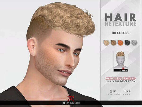 The Sims Resource: Bryan Hair Retextured by remaron for Sims 4