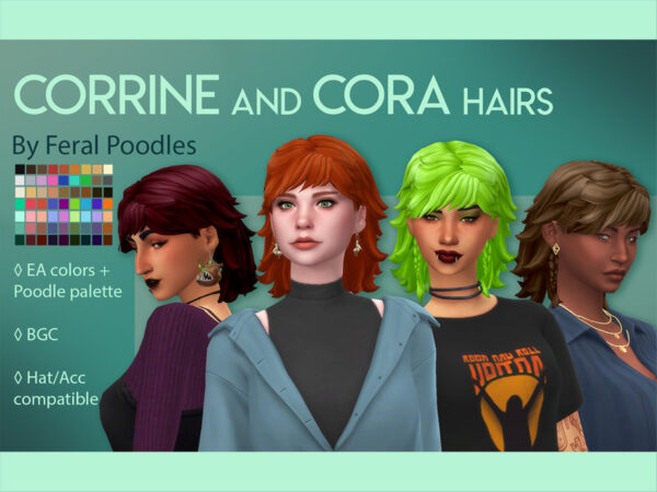 The Sims Resource: Corrine Hair by feralpoodles for Sims 4