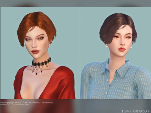 The Sims Resource: Hair G30 by DaisySims for Sims 4