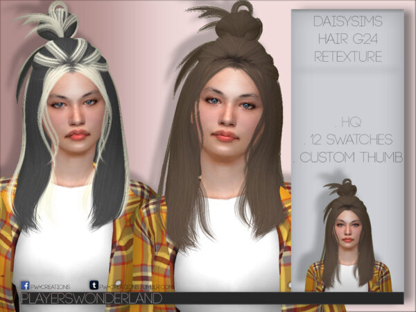 The Sims Resource: Daisysims Hair G24 Retextured by PlayersWonderland for Sims 4