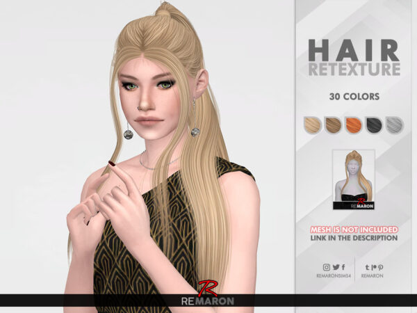 The Sims Resource: Endors Witch Hair Retextured by remaron for Sims 4