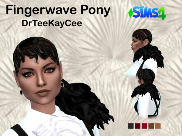 The Sims Resource: Finger Wave Pony Hair by drteekaycee for Sims 4