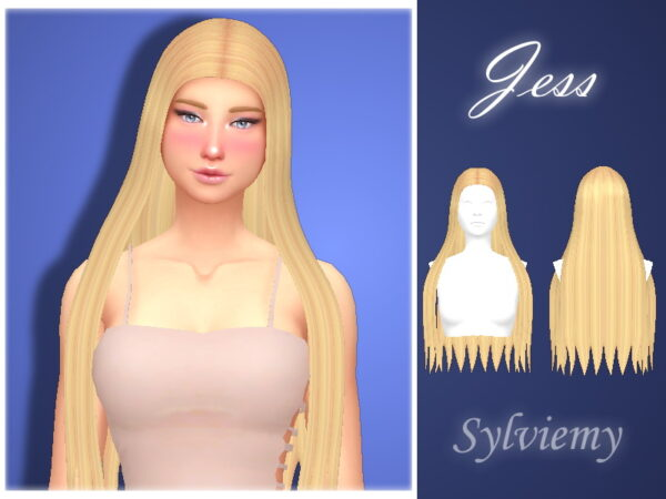 The Sims Resource: Jess Hairstyle by Sylviemy for Sims 4
