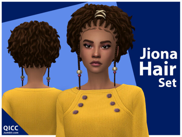 The Sims Resource: Jiona Hair Set for Sims 4
