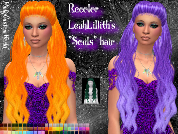 The Sims Resource: LeahLilliths Souls hair recolored by PinkyCustomWorld for Sims 4