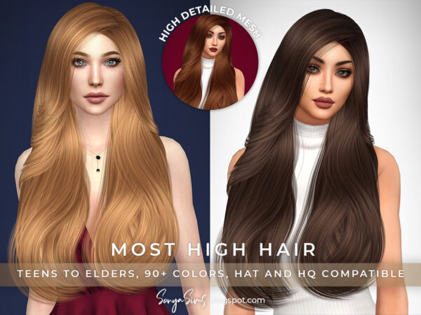 The Sims Resource: Most High Hair by SonyaSims for Sims 4