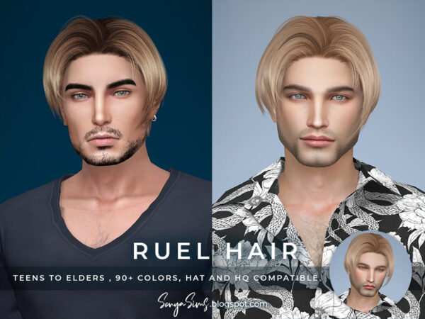 The Sims Resource: Ruel Hair by SonyaSimsCC for Sims 4