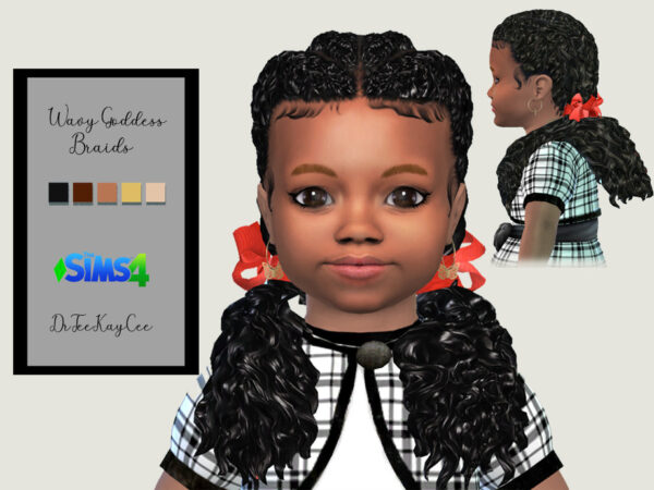 The Sims Resource: Wavy Goddess Pigtails by drteekaycee for Sims 4