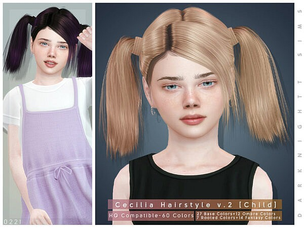 DarkNighTt Cecilia Hairstyle V2 ~ The Sims Resource for Sims 4