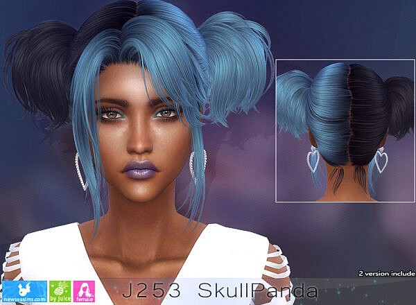 J253 Skull Panda Hairstyle ~ NewSea for Sims 4