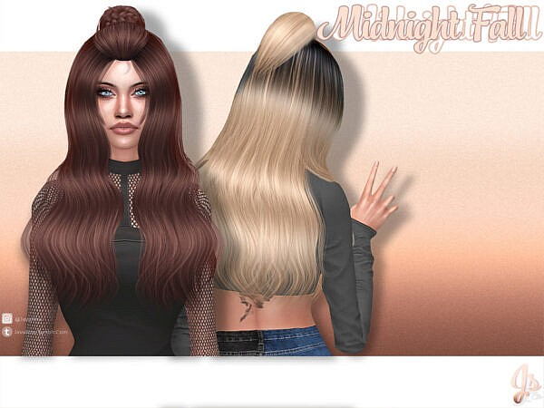 Midnight Fall Hair by JavaSims ~ The Sims Resource for Sims 4