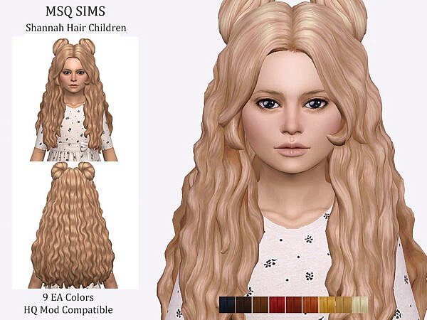 Shannah Hair Children by MSQ Sims ~ The Sims Resource for Sims 4