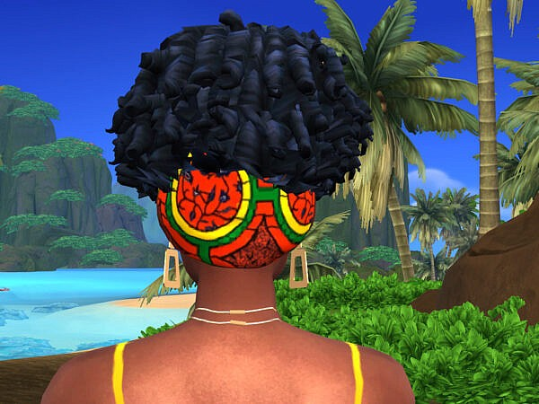 Afro Curls with Hair Wrap ~ The Sims Resource for Sims 4