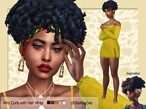 Afro Curls with Hair Wrap