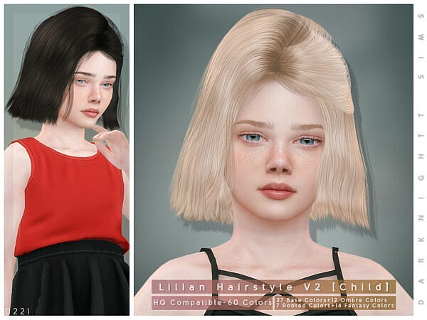 Lilian Hairstyle V2 Child by DarkNighTt ~ The Sims Resource for Sims 4