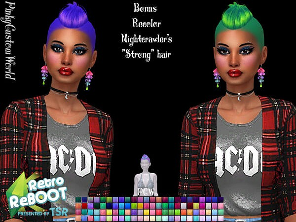 Nightcrawlers Strong hair bonus recolored by PinkyCustomWorld ~ The Sims Resource for Sims 4