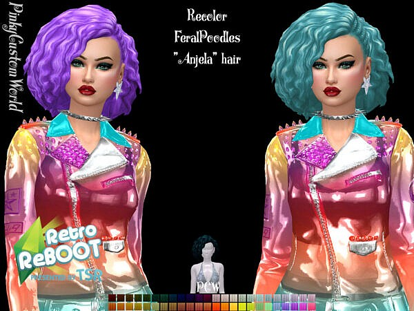 Retro ReBoot Recolor of FeralPoodles Anjela hair by PinkyCustomWorld ~ The Sims Resource for Sims 4