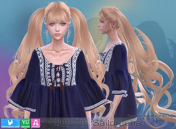 YTU 219 SailorLuna Hair ~ NewSea for Sims 4