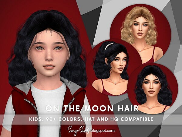 On the Moon Hair ~ Sonya Sims for Sims 4