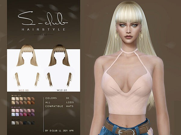 LL Hair N82 by S Club ~ The Sims Resource for Sims 4