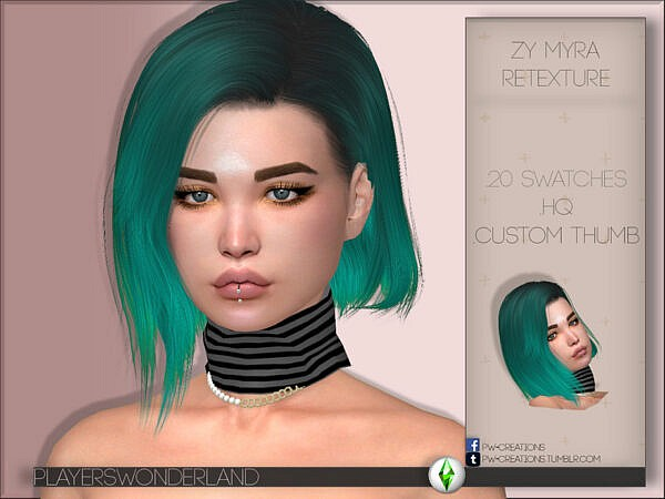 Myra Hair Retextured by PlayersWonderland ~ The Sims Resource for Sims 4