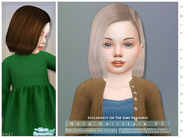 Nora Hairstyle V2 by DarkNighTt ~ The Sims Resource for Sims 4