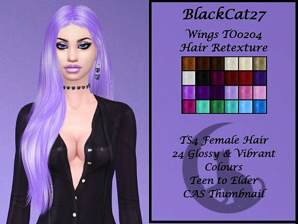 Wings TO0204 Hair Retextured by BlackCat27 ~ The Sims Resource for Sims 4