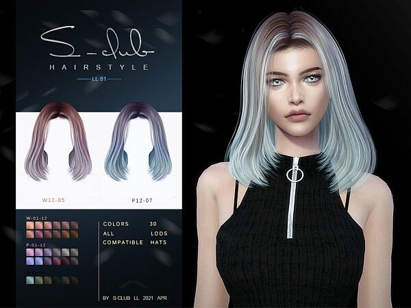 Nairstyle n81 by S Club ~ The Sims Resource for Sims 4