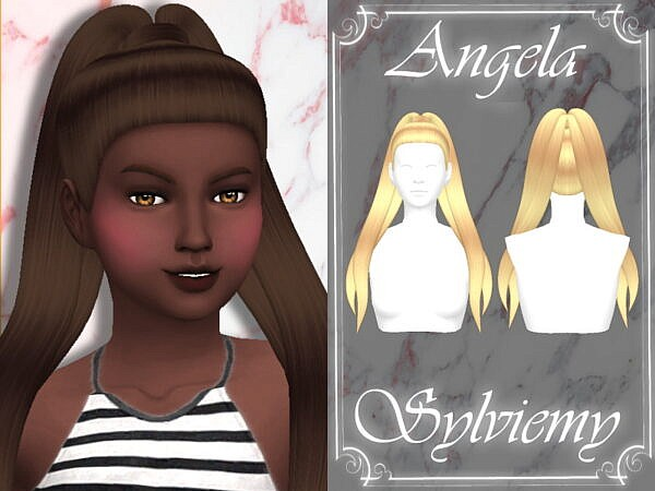 Angela Hairstyle Child by Sylviemy ~ The Sims Resource for Sims 4