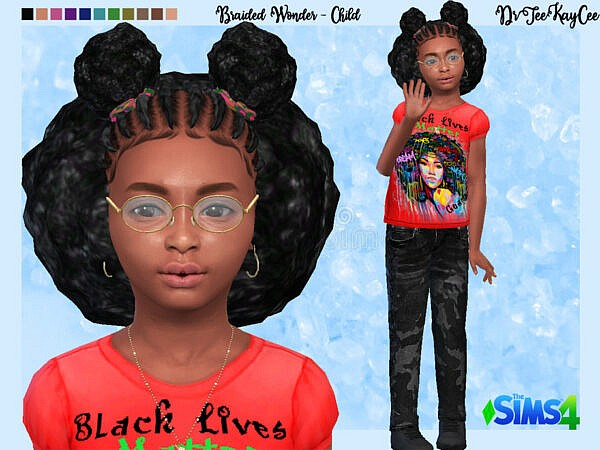 Braided WonderHair for Child by drteekaycee ~ The Sims Resource for Sims 4