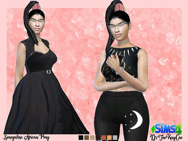 Sengalese Twist Pony with African Barrette by drteekaycee ~ The Sims Resource for Sims 4