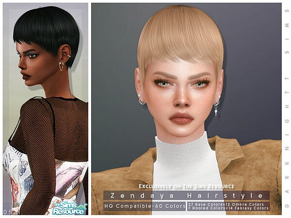 Zendaya Hairstyle by DarkNighTt ~ The Sims Resource for Sims 4