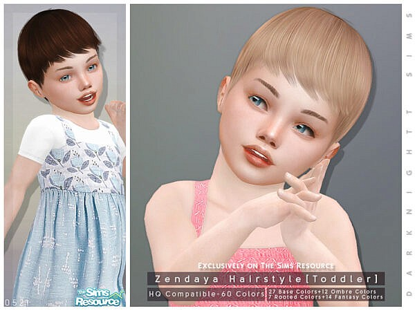 Zendaya Hairstyle for Toddlers by DarkNighTt ~ The Sims Resource for Sims 4