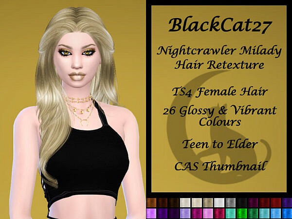 Nightcrawler`s Milady Hair Retextured by BlackCat27 ~ The Sims Resource for Sims 4