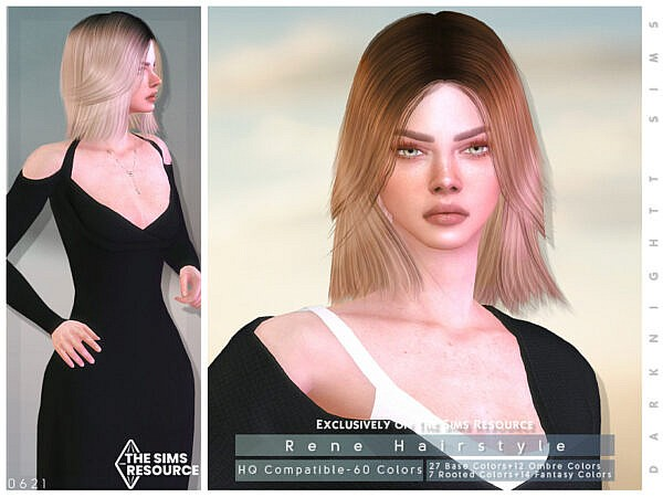 Rene Hair by DarkNighTt ~ The Sims Resource for Sims 4