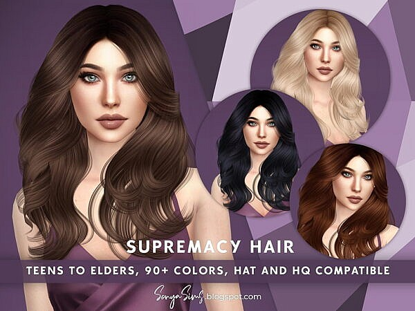 Supremacy Hair ~ Sonya Sims for Sims 4