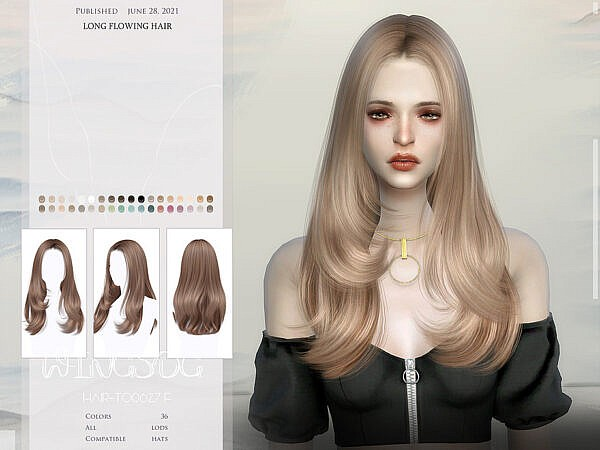 WINGS TO0626 Long flowing hair ~ The Sims Resource for Sims 4