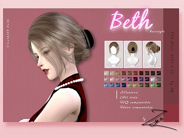 Beth hairstyle by Zy ~ The Sims Resource for Sims 4