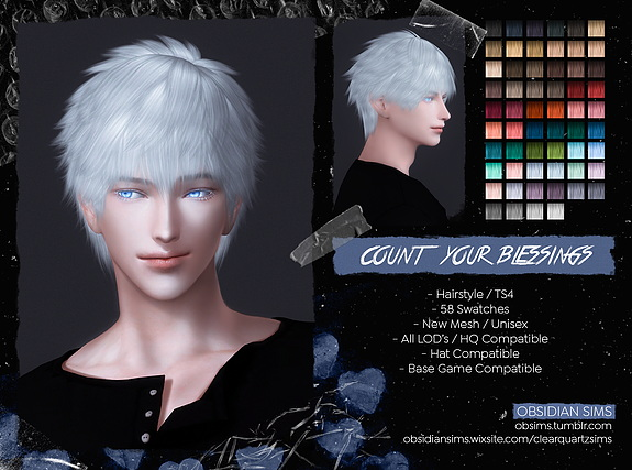 Count Your Blessing Hairstyle ~ Obsidian Sims for Sims 4
