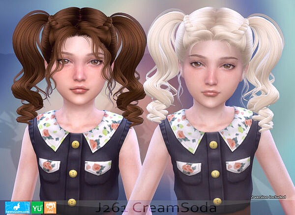 J261 CreamSoda hairstyle for child ~ NewSea for Sims 4