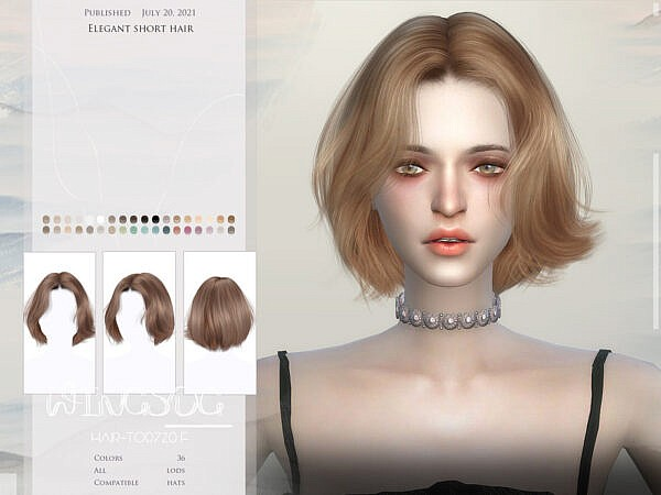 Elegant short hair by wingssims ~ The Sims Resource for Sims 4