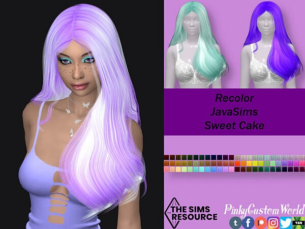 JavaSims Sweet Cake hair recolored by PinkyCustomWorld ~ The Sims Resource for Sims 4