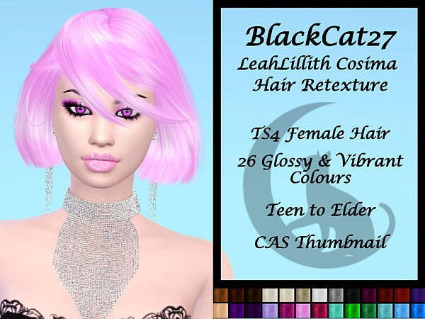 LeahLillith` Cosima Hair Retexture by BlackCat27 ~ The Sims Resource for Sims 4
