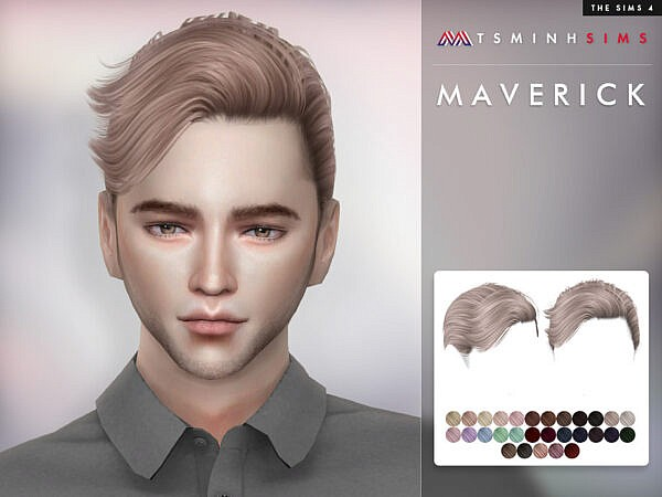 Hair Maverick by TsminhSims ~ The Sims Resource for Sims 4