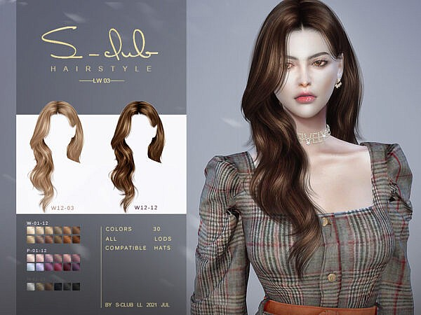 Mi Long curly hairstyle by S Club ~ The Sims Resource for Sims 4