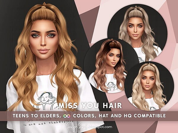 Miss You Hair ~ Sonya Sims for Sims 4